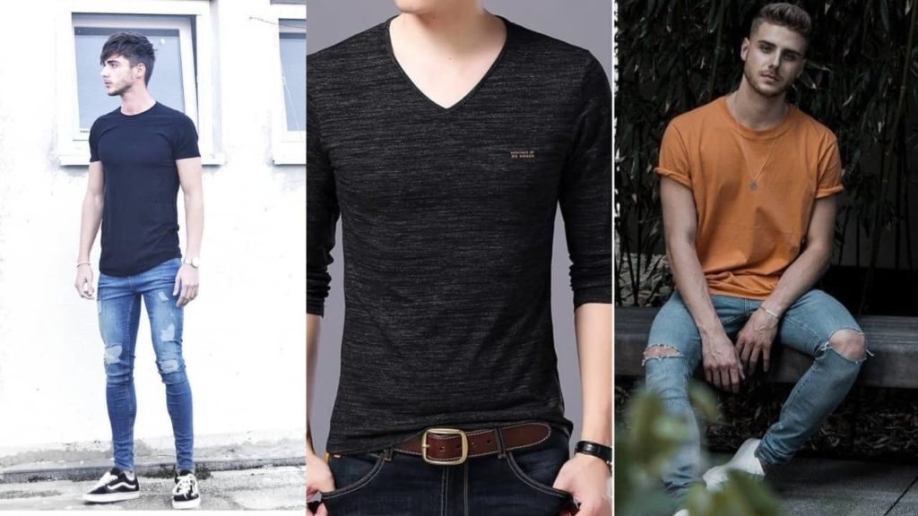 avoid wearing v-necks; skinny mens fashion
