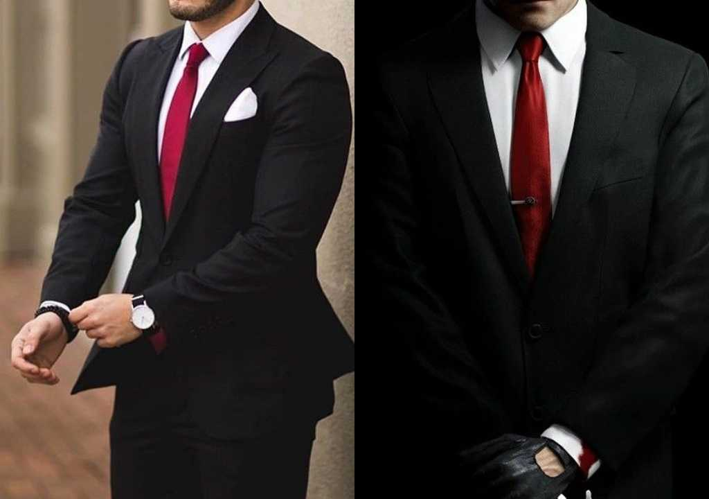 black suit with red tie
