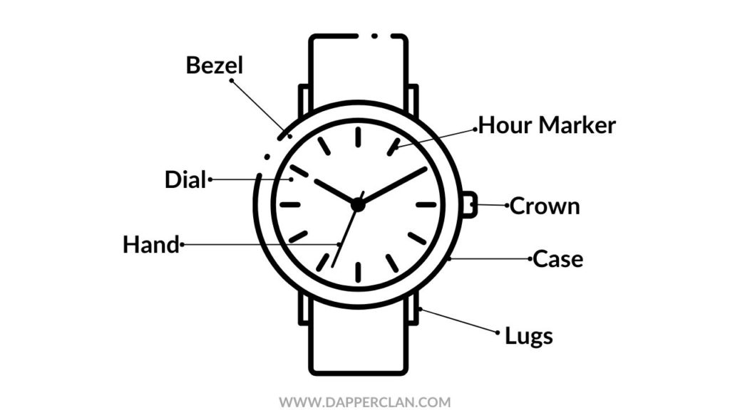ILLUSTRATION OF WATCH PARTS AND ANATOMY