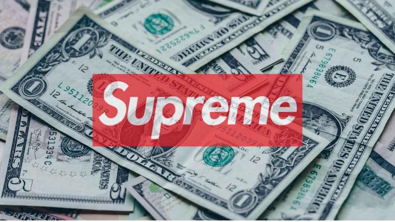 supreme logo overlay on cash stack